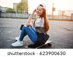 young teenage urban girl with... | Shutterstock . vector #623900630