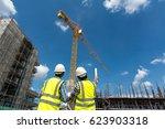 civil engineer checking work... | Shutterstock . vector #623903318