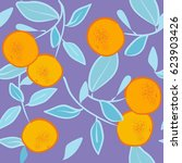 seamless pattern with orange ... | Shutterstock .eps vector #623903426