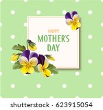 mother's day card with pansy... | Shutterstock .eps vector #623915054