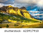 travel in the dolomites.... | Shutterstock . vector #623917910