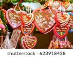 gingerbread hearts at german... | Shutterstock . vector #623918438