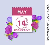 mother's day card. may 14... | Shutterstock .eps vector #623920286