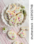 colorful easter biscuits.... | Shutterstock . vector #623920748