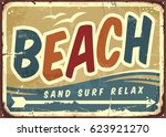 beach sign vector retro... | Shutterstock .eps vector #623921270