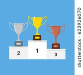 winners podium with gold ... | Shutterstock .eps vector #623926070