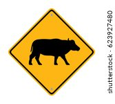 buffalo crossing sign. traffic... | Shutterstock . vector #623927480