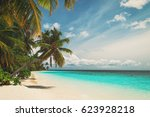 tropical sand beach | Shutterstock . vector #623928218