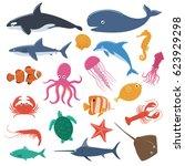 set of sea animals   Shutterstock .eps vector #623929298