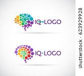 colorful brain logo made of... | Shutterstock .eps vector #623929928