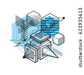 isometric linear abstract... | Shutterstock . vector #623935613