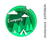 summer camping background with... | Shutterstock .eps vector #623938634