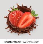 strawberry and chocolate splash.... | Shutterstock .eps vector #623943359