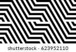 Stock vector seamless pattern with black white striped lines optical illusion effect geometric tile in op art 623952110