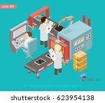 isometric industrial factory... | Shutterstock .eps vector #623954138