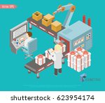 conveyor system in flat design. ... | Shutterstock .eps vector #623954174