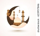 creative moon with mosque and... | Shutterstock .eps vector #623957846