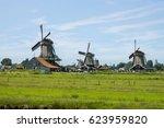 windmill in zaanse schans ... | Shutterstock . vector #623959820
