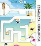 maze game printable vector... | Shutterstock .eps vector #623959838