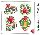 vector set icons for cricket... | Shutterstock .eps vector #623961914