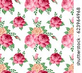 Stock vector seamless pattern with roses and flowers vector illustration in retro style 623964968