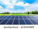 wind turbines and solar panels... | Shutterstock . vector #623965889