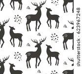 deers seamless pattern  vector... | Shutterstock .eps vector #623967248