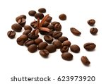 coffee beans isolated on white... | Shutterstock . vector #623973920