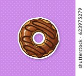 vector illustration. donut with ... | Shutterstock .eps vector #623975279