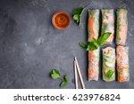 fresh assorted spring rolls set ... | Shutterstock . vector #623976824