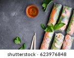 fresh assorted spring rolls set ... | Shutterstock . vector #623976848
