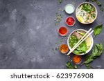 assorted asian dinner with... | Shutterstock . vector #623976908