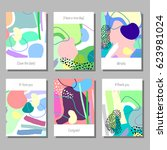 creative artistic cards set.... | Shutterstock .eps vector #623981024