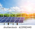 solar panels and wind... | Shutterstock . vector #623982440