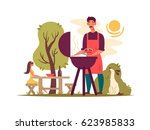 man preparing barbecue on grill   Shutterstock .eps vector #623985833
