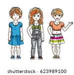 cute little girls standing in... | Shutterstock . vector #623989100