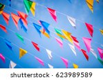 colorful bunting flags against... | Shutterstock . vector #623989589