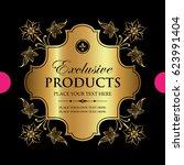 luxury ornamental gold label  ... | Shutterstock .eps vector #623991404
