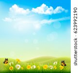 spring nature background with a ... | Shutterstock .eps vector #623992190