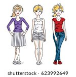 happy young adult girls female... | Shutterstock . vector #623992649