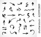 hand drawn arrows  vector set | Shutterstock .eps vector #623992889