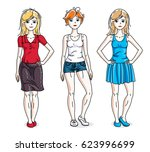 happy cute young women group... | Shutterstock . vector #623996699