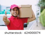 parcel delivery man smiling... | Shutterstock . vector #624000074