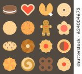 set of assorted cookies in flat ... | Shutterstock .eps vector #624004673