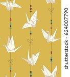 origami bird figure  paper... | Shutterstock .eps vector #624007790