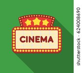 cinema signboard icon in flat... | Shutterstock .eps vector #624008690