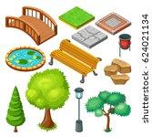 isometric summer park landscape ... | Shutterstock .eps vector #624021134
