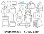 hand drawn travel bags set with ... | Shutterstock .eps vector #624021284
