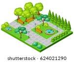 isometric spring park landscape ... | Shutterstock .eps vector #624021290