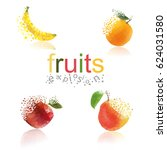 fruits explosion icons and logo.... | Shutterstock .eps vector #624031580